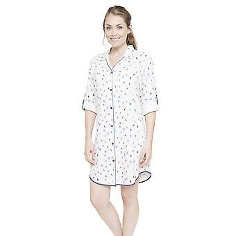 Cyberjammies 4086 kvinders Aspen hvid skiløb Print søvn Shirt Nighty natskjorte