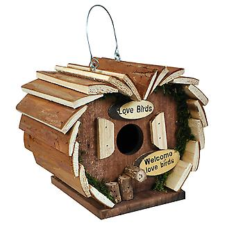 Natures Market HOTEL3 Wooden Wood Small Love Bird House Hotel Hanging Nesting Box