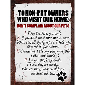 Vintage Metal Wall Sign - Non-pet owners