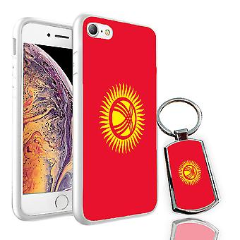 For OnePlus 3T - Kyrgystan Flag Design Printed White Case Skin Cover + Free Metal Keyring - 0092 by i-Tronixs