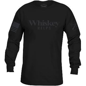 Grognement Style whisky contribue à l'étiquette noire manches longues T-Shirt-Black