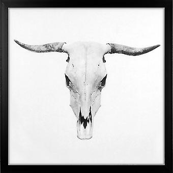 Grindstore Bull Skull stor indrammet lærred print