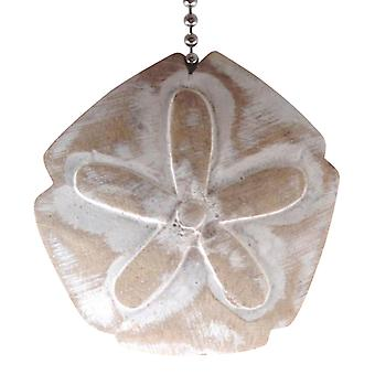 Coastal Beach Sand Dollar Whitewashed Carved Wood Ceiling Fan Pull