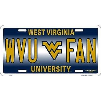West Virginia Mountaineers NCAA WVU Fan License Plate