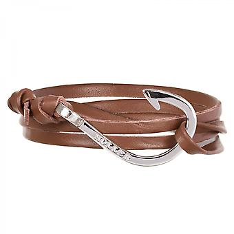 Holler Kirby  Silver Polished Hook / Brown Leather Bracelet  HLB-03SRP-L04