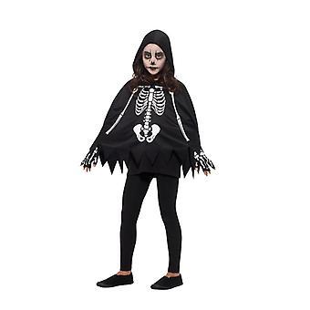 Traje esqueleto niños conjunto esqueleto de Halloween Carnaval poncho unisex guantes Kit