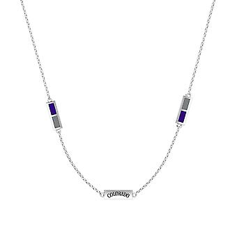 Colorado Rockies Sterling Silver Engraved Triple Station Necklace In Purple & Grey