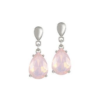 Eternal Collection Seduction Teardrop Rosewater Opal Crystal Silver Tone Drop Clip On Earrings