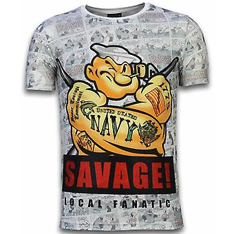 Popeye Savage-Digital rhinestone T-shirt-vit