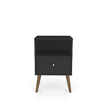 Manhattan comfort  liberty mid century - modern nightstand 1.0 with 1 cubby space and 1 drawer in black
