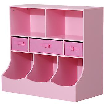 HOMCOM Kids Storage Unit Shelf Fabric Drawers Toy and Book Organiser On-Wall Bedroom Home Pink 80 x 40 x 75 cm