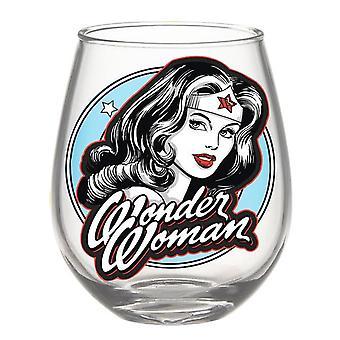Wonder Woman schwarz und weiß 20oz Stemless Glas