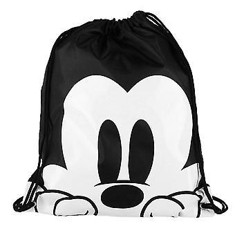 Mickey-Mouse schwarz / weiß Kordel Tasche