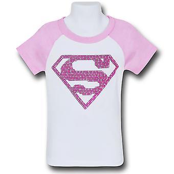 Supergirl Mädchen rosa Muster Symbol T-Shirt