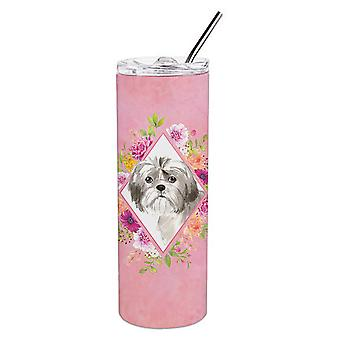 Shih Tzu Puppy Pink Flowers Double Walled Stainless Steel 20 oz Skinny Tumbler