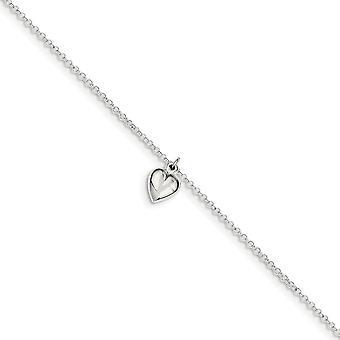 925 Sterling Silver Fancy Lobster Sluiting gepolijst Love Heart Met 1inch Ext. Anklet 9 Inch Sieraden Geschenken voor vrouwen