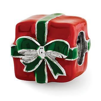 925 Sterling Silver Polished Antiquário Acabamento Reflections Verde e Vermelho Enameled Presente Pingente De Pingente De Pingente Joia