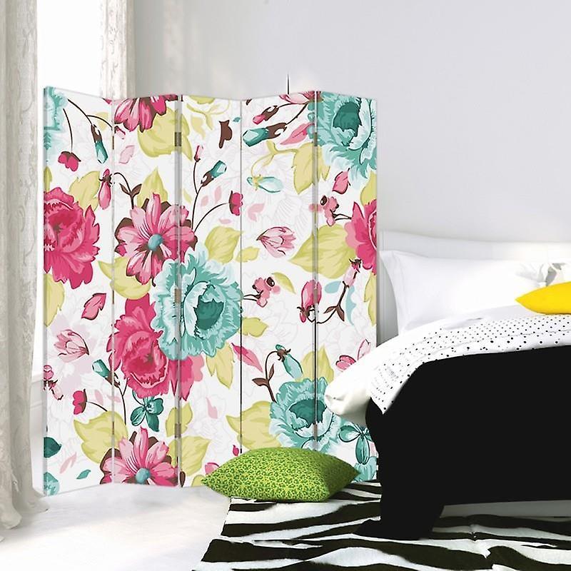 Diviseur de chambre, 5 panneaux, double-sided, 360 rotatable, toile, fleurs de cru