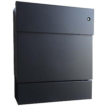 Radius Briefkasten Letterman 5 schwarz mit LED-Klingel blau + Zeitungsrolle 561 F-KB