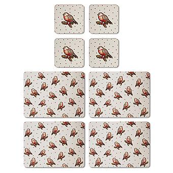 Cooksmart Red Red Robin Placemats and Coasters