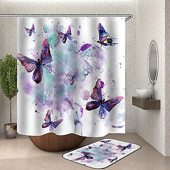 Watercolor Painting Butterflies Shower Curtain