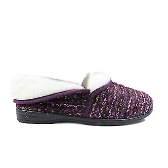 R&R Harper Purple/Faux Fur Womens Slip On Full Shoe Slippers