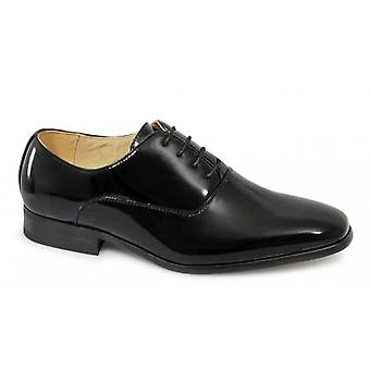 Goor Dio Mens 4 Eyelet Patent Dress Chaussures Noir