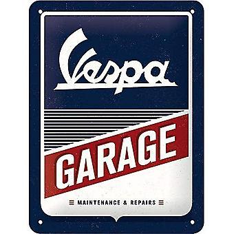 Vespa garasje store preget stål tegn 400 x 300 mm (na)