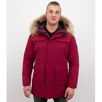 Parka Men's Winter Coat with Big Real Fur Collar – Red