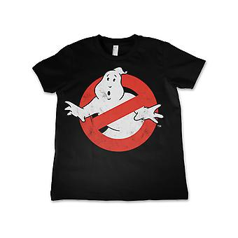 Ghostbusters T Shirt Vintage Distressed Logo Official Kids New Black 3-12yrs