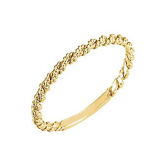14k Yellow Gold 2mm Polished Twisted Rope Band Ring Size 6.5 Jewelry Gifts for Women - 1.1 Grams