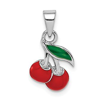 925 Sterling Silver Rhodium plated for boys or girls Enameled Cherry Pendant Necklace - .8 Grams