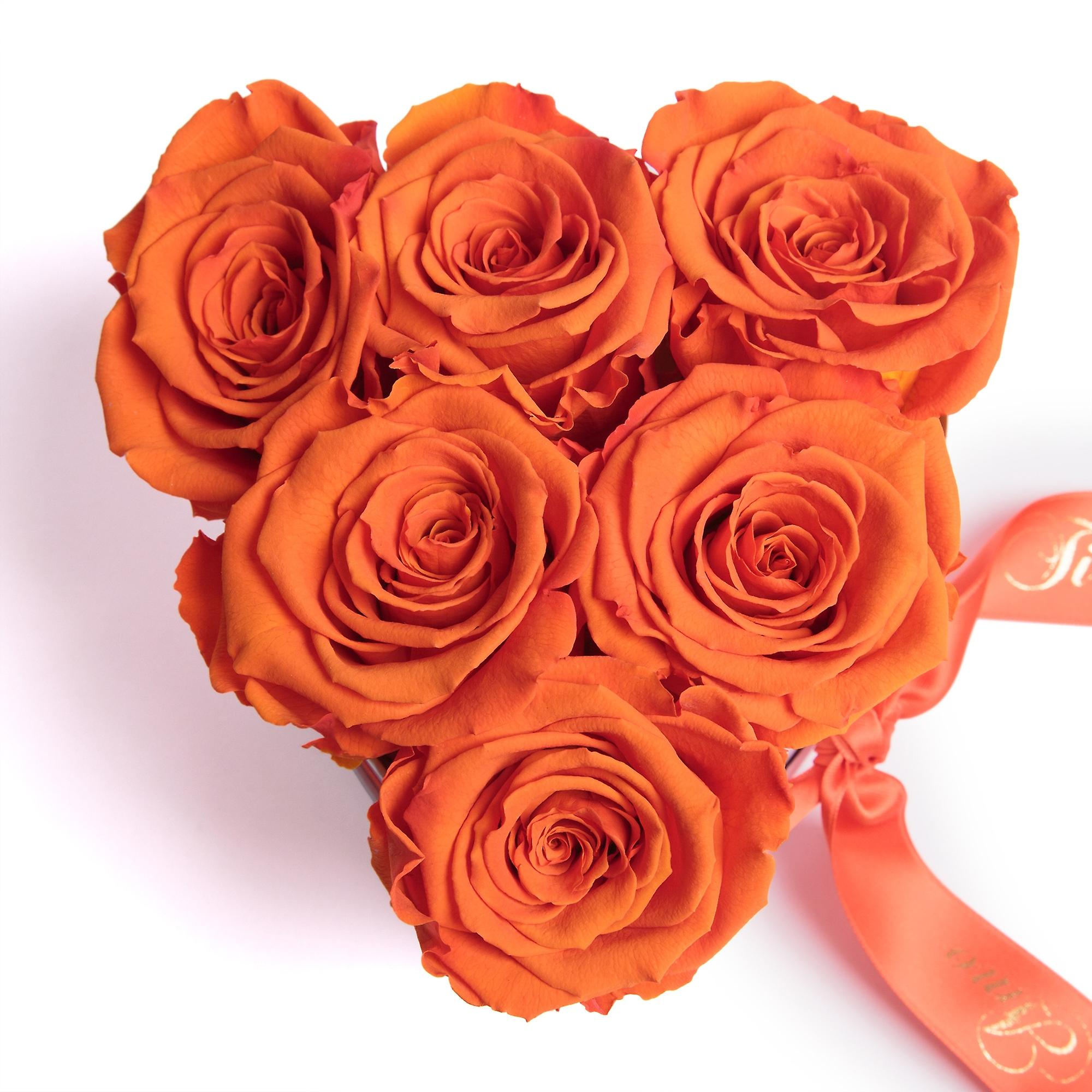Ti Amo Flowers Roses Box in Heart Shape 6 Preserved Eternal Roses in Orange