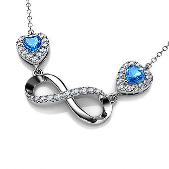 Infinity necklace 925 sterling silver pendant blue hearts cz crystals