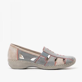 Rieker 41385-13 Ladies Leather Slip On Shoes Azure/steel
