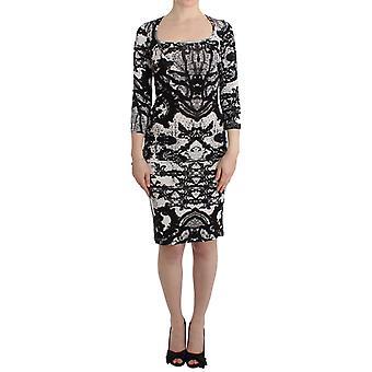 Cavalli Black Printed Sheath Dress