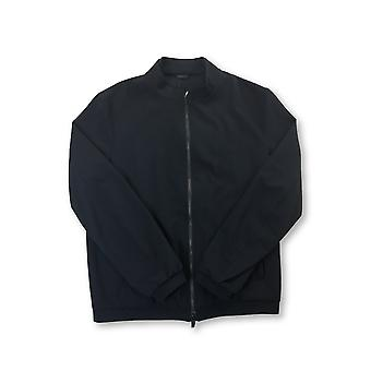 Armani Collezioni full zip top in navy subtle waffle texture
