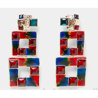 Earring with multicolored squares