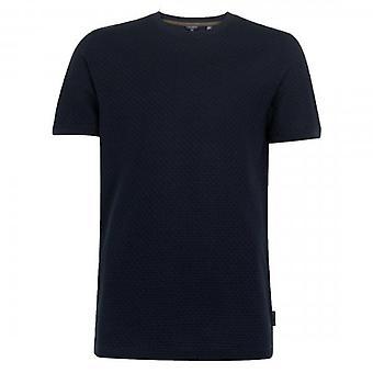 Ted Baker Karamell SS Teksturert Crew Hals T-skjorte Marineblå