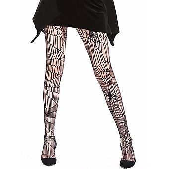Womens Fishnet Black Spider Net Distressed Pantyhose Halloween Tights