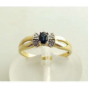 Gold Saphirring mit Diamanten