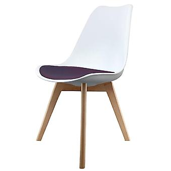 Fusion Living Eiffel Inspired White And Aubergine Purple Plastic Dining Chair With Squared Light Wood Legs