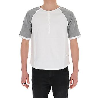 Thom Browne Mjs111a00042055 Men's Wit/grijs KatoenT-shirt