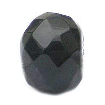 TOC BEADZ Black Faceted 8mm Glass Slide-On Off Bead