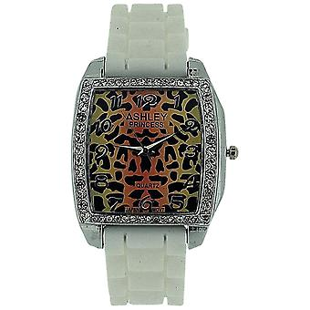 Ashley Princess Leopard Skin Diamante Dial White Rubber Strap Ladies Watch AR2