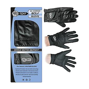 Pro-Tekt Mens All Weather Black Golf Glove-Large-Black-Right Hand for Left Hand Player