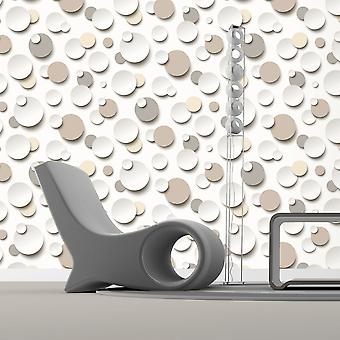 3D Circles Wallpaper Bubbles Modern Round Textured White Beige Brown Muriva