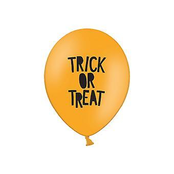 6 Trick or Treat Print Orange Latex Halloween Party Balloons