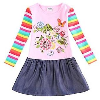 Long Sleeve Girls Dress , Flowers, Stripes, Infant