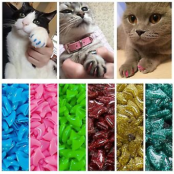 Colorful Cat Nail Caps Soft Claw & Soft Paws With Free Adhesive Glue For Pet